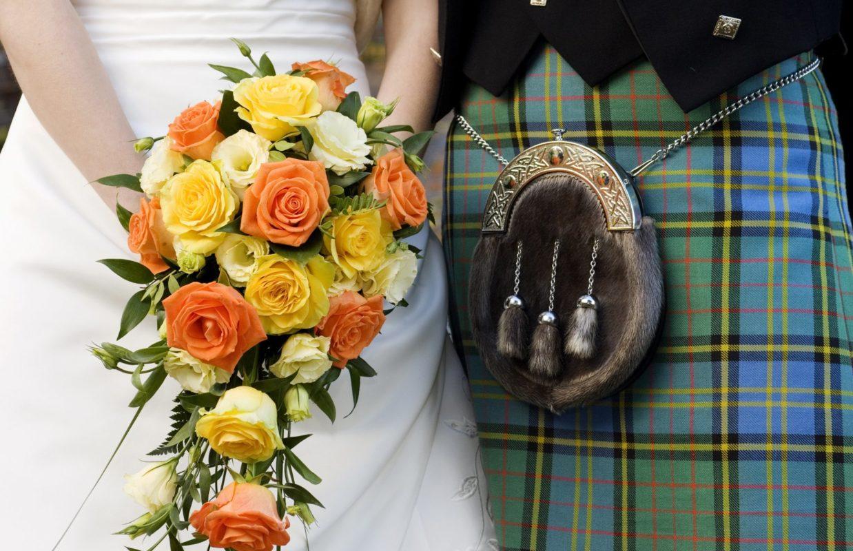 Scottish Kilt and Sporan, plus Flower Bouquet
