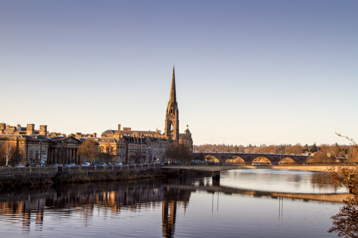 Sunset over the River Tay in Perth Scotland